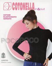 Pull À Col Roulé Femme coton manches longues Élastique Sweat-shirt COTONELLA 2-s Blanc