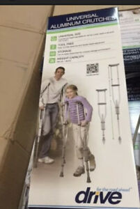 Drive Medical Knock Down Universal Aluminum Crutches, Silver (Adjustable Height)