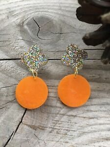 Handmade Resin Statement Earrings - Clementine And Gold Glitter Mix