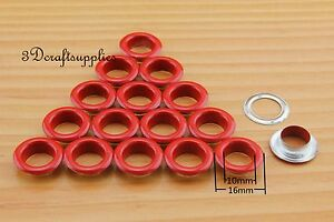 eyelets metal with washer grommets red round 60 sets 10 mm CK34