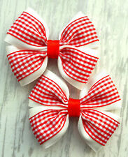 "PAIR HANDMADE 3.5"" RED GINGHAM SCHOOL HAIR RIBBON BOWS GIRL ALLIGATOR CLIPS"