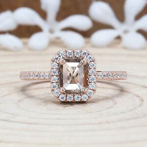 0.86 CT Salt And Pepper Ring, Emerald Diamond Ring, Engagement Ring, KDL9563
