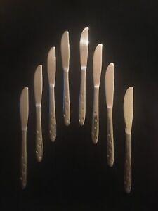 Vintage Atomic Stars Stainless Steel 8 Knives Flatware Mid Century
