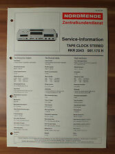 Tape Clock Stereo RKR2043 981.175H Nordmende Service Manual Serviceanleitung