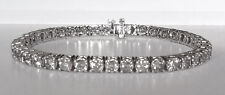 7.0 CT F SI IDEAL CUT NATURAL DIAMOND TENNIS BRACELET 14K WHITE GOLD 7 INCHES