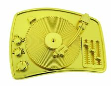 TURNTABLE RADIO DISCO DJ PLAIN BELT BUCKLE FOR MUSIC LOVERS MEN WOMEN YOUTH GOLD