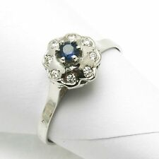 Vintage Blue Sapphire & diamond FLOWER ring Reproduction dainty 14k white gold