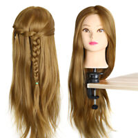 "Hairdressing Training Head 26"" Human Hair Practice Mannequin Blond With Clamp Q"