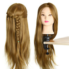 """Hairdressing Training Head 26"""" Human Hair Practice Mannequin Blond With Clamp Q"""
