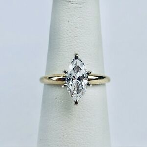 14k Solid Yellow Gold Marquise Cut White Cubic Zirconia CZ Solitaire Ring Size 5