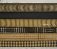 Dunroven House 6  Primitive Homespun Mustard & Black  Fabric  Fat Quarters