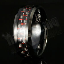 Black and Red Carbon Fiber Tungsten Carbide Inlay Wedding Band Bridal MEN Ring
