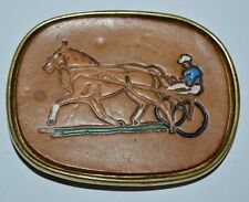 Vintage Horse Harness Racing Track Leather Face Solid Brass Belt Buckle Rare