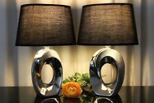 2 Lampen schwarz silber Nachttischlampe Leuchte Keramik Tischlampe Tischleuchte