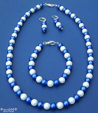 blau weiss Perlen Ohrhänger - Kette - Armband  für Fussball Fans Berlin *