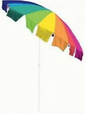 BEACH UMBRELLA 7.5' TILTING MULTICOLOR RAINBOW POOL PATIO SHADE TAN THRU NO SPF