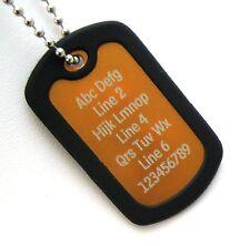 PERSONALIZED Dog Tag Necklace Horizontal Wording - ORANGE with Black Silencer