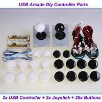 Arcade DIY Parts 2x USB Encoder To PC + 2x Joystick + 20x Push Button For MAME