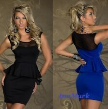 GORGEOUS PEPLUM PARTY SLEEVELESS MINI LACE DRESS SIZE UK 8/10 10-12 INNMARK 595
