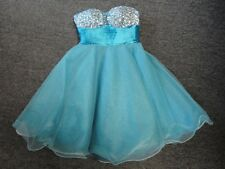 CLARISSE Aqua Blue Polyester Strapless Sequined Prom Party Dress Size 2 EE7088
