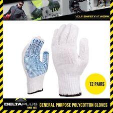 x12 Pairs Delta Plus Venitex TP169 White Cotton Safety Work Gloves With PVC Dots