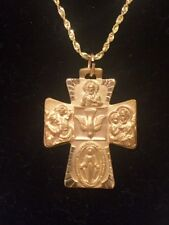 Ornate Four Way Cross Medal 14K Yellow Gold 28 x 23.5mm Large Pendant R16494