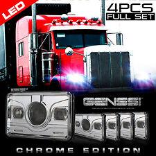 4pcs Pro+ Chrome LED Headlights for Kenworth T800 T400 T600 W900B W900L Classic