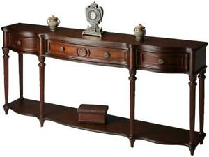 CONSOLE FLUTED LEGS PLANTATION CHERRY ANTIQUE BRASS DISTRESSED SOLID WOOD