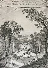 Chine China cabinet de feuillage gravure ancienne old engraving 1750 Asie Asia