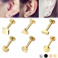 316L Surgical Steel  Labret Stud Cartilage Tragus Earring Heart Star Barbell 16G