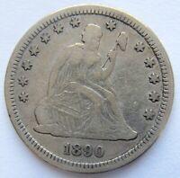 1890 Seated Liberty Quarter Rare Key Date Mintage 80,000