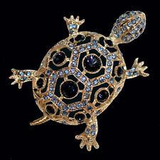 Brosche Schildkröte mit saphirblauen Kristallen, goldfarbenes Metall