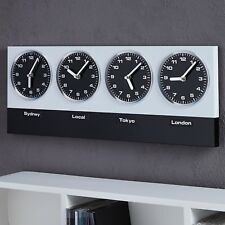 """MODERN WALL CLOCK """"GLOBAL"""" %7c  silver/black %7c with 4 clockworks and magnets"""