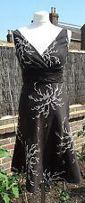 Monsoon Petite Black White Linen/Silk Empire Line Dress UK8 EXCELLENT CONDITION
