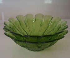 SET OF TWO GREEN LETTUCE OR CABBAGE DESIGN CEREAL BOWLS SCALLOPED EDGES
