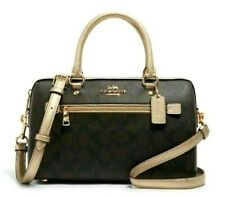 New Coach 87705 Rowan Satchel Signature handbag Brown / Metallic Pale Gold