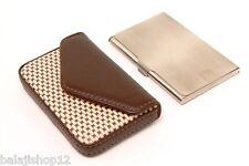 Designer ATM Debit Credit Card holder Brown Leather & Stainless Steel