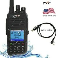 New TYT MD-UV390 IP67 DMR Digital Mobile Radio Dual Band 2 Way Radio with Cable