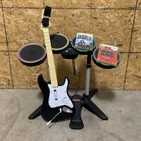 Xbox 360 Harmonix Rock Band Wireless Drum Set Wireless Guitar Bundle RockBand 2