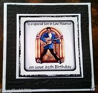 Mens Male Handmade Personalised Birthday Card ANY AGE Jukebox Brother Nephew Son