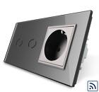 Livolo cristal Radio INTERRUPTOR DE SERIE/ Enchufe vl-c702r-15 vl-c7c1eu-15 Gris