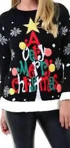 """Ladies 3D knitted multi colour  """"A Very Merry Christmas"""" Pom Pom Tree Jumper"""