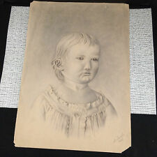 "Vintage 1886 Original Pencil Sketch of Child Girl by A. Jacobi - 13.5"" x 19.25"""