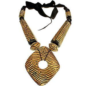 Natural buffalo horn tribal stripe brown colour huge oversized pendant necklace