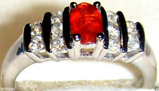 RED MEXICAN CHERRY FIRE OPAL & WHITE ZIRCON RING, 925 SILVER, SIZE 6, 1.00(TCW)