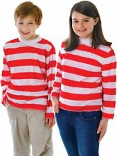 Childs Red White Sleeve Striped Top Book Character Shirt Fancy Dress Outfit