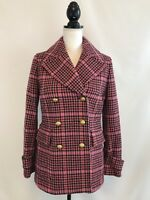 J CREW WOMENS DOUBLE BREASTED WOOL COAT JACKET Golden ButtonsPINK SZ 6