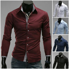 Cotton Blend Crew Neck Slim No Casual Shirts & Tops for Men