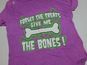 Puppy Dog Halloween T Shirt Forget Treats Give Me Bones Medium Purple