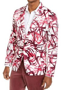 INC Mens Blazer White Pink Large L Scribble Satin Peak-Lapel Slim Fit $149 105